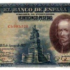 Billetes españoles: BILLETE DE ESPAÑA DE 25 PESETAS DE 1928 ESCRITO A BOLI. Lote 291964318