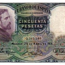 Billetes españoles: BILLETE DE ESPAÑA DE 50 PESETAS DE 1931 CIRCULADO. Lote 291964353