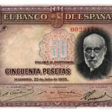 Billetes españoles: BILLETE DE ESPAÑA DE 50 PESETAS DE 1935 CIRCULADO. Lote 291964403