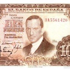 Billetes españoles: BILLETE DE ESPAÑA DE 100 PESETAS DE 1953 CIRCULADO. Lote 291964518