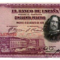 Billetes españoles: BILLETE DE ESPAÑA DE 50 PESETAS DE 1928 MANCHADO. Lote 291966603