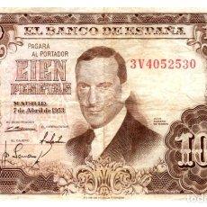Billetes españoles: BILLETE DE ESPAÑA DE 100 PESETAS DE 1953 CIRCULADO. Lote 291966733