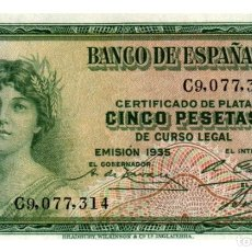 Billetes españoles: BILLETE DE ESPAÑA DE 5 PESETAS DE 1935 BUEN ESTADO. Lote 291967168