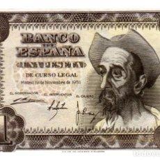 Billetes españoles: BILLETE DE ESPAÑA DE 1 PESETA DE 1951 BUEN ESTADO EL QUIJOTE. Lote 291967273