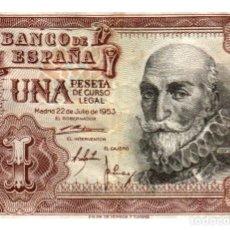 Billetes españoles: BILLETE DE ESPAÑA DE 1 PESETA DE 1953 CIRCULADO MARQUES DE SANTA CRUZ. Lote 291967448