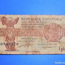 Banconote spagnole: BILLETE 1 PESETA 1937 SERIE C CIRCULADO SOLO PAGOS POR PAYPAL. Lote 293241463
