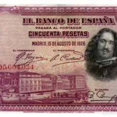 Banconote spagnole: BILLETE DE ESPAÑA DE 50 PESETAS DE 1928 CIRCULADO. Lote 293563768