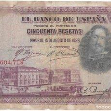 Billetes españoles: BILLETE 50 PESETAS 15-08-1928 SERIE 7604719. Lote 293601423