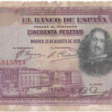 Billetes españoles: BILLETE 50 PESETAS 15-08-1928 SERIE 3815714. Lote 293601718
