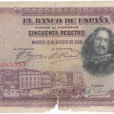 Billetes españoles: BILLETE 50 PESETAS 15-08-1928 SERIE 7685933. Lote 293603458