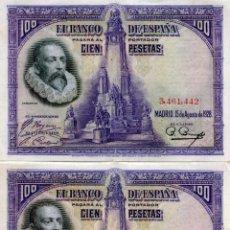 Billetes españoles: DOS BILLETES DE 100 PESETAS DE LA REPUBLICA ( BES37 ). Lote 296748863