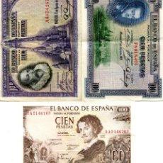 Billetes españoles: TRES BILLETES DE 100 PESETAS ( BES38 ). Lote 296748883