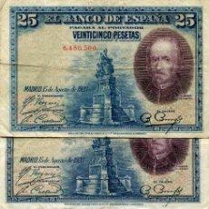 Billetes españoles: 6 BILLETES DE 25 PESETAS AÑO 1923 ( BES39 ). Lote 296748928