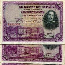 Billetes españoles: 6 BILLETES DE 50 PESETAS AÑO 1928 ( BES40 ). Lote 296748958