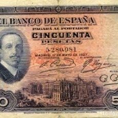 Billetes españoles: BILLETE DE 50 PESETAS MADRID AÑO 1927 ( CIRCULADO ) ( BES49 ). Lote 296749298