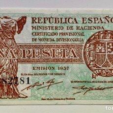 Billetes españoles: BILLETE 1 PESETA 1937 SC. SERIE B. REPUBLICA. Lote 296866398