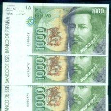 Billetes españoles: ESPAÑA - LOTE 4 BILLETES CORRELATIVOS SIN SERIE Y SIN CIRCULAR EMISION AÑO 1992.. Lote 296868188