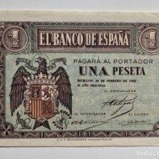Billetes españoles: BILLETE 1 PESETA 1938 FEBRERO EBC. Lote 296868223