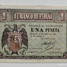 Billetes españoles: BILLETE 1 PESETA 1938 ABRIL. EBC/EBC+. Lote 296868468