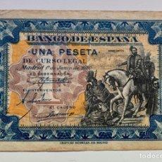 Billetes españoles: BILLETE 1 PESETA 1940 SIN SERIE. HERNAN CORTES. Lote 296869528