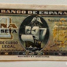 Billetes españoles: BILLETE 1 PESETA 1940 SIN SERIE. NAVE SANTA MARIA. CARABELA. Lote 296869928