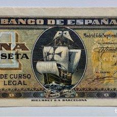 Billetes españoles: BILLETE 1 PESETA 1940 EBC/EBC+. NAVE SANTA MARIA. CARABELA. Lote 296870178