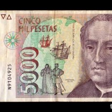 Billetes españoles: ESPAÑA 5000 PESETAS CRISTÓBAL COLÓN 1992 PICK 165 SERIE N MBC VF. Lote 296872348