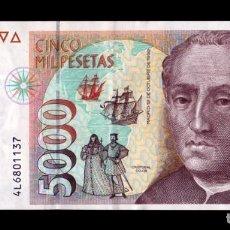 Billetes españoles: ESPAÑA 5000 PESETAS CRISTÓBAL COLÓN 1992 PICK 165 SERIE 4L EBC XF. Lote 296874528