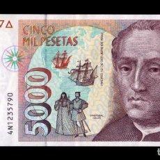 Billetes españoles: ESPAÑA 5000 PESETAS CRISTÓBAL COLÓN 1992 PICK 165 SERIE 4N EBC XF. Lote 296876573
