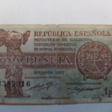 Billetes españoles: UNA PESETA SEGUNDA REPUBLICA ESPAÑOLA. 1937. Lote 296885278