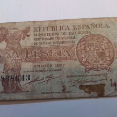 Billetes españoles: BILLETE DE UNA PESETA SEGUNDA REPUBLICA. AÑO 1937. Lote 296885663