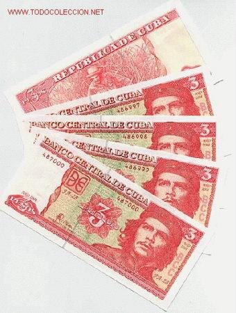 LOTE DE 5 BILLETES DE 3 PESOS DEL CHE GUEVARA , CUBA ,PLANCHA SIN CIERCULAR AÑO 2004, ORIGINALES ,RB (Numismática - Notafilia - Billetes Extranjeros)