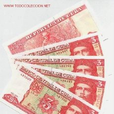 Billetes extranjeros: 1 BILLETE DE 3 PESOS DEL CHE GUEVARA , CUBA , PLANCHA AÑO 2004 RARO , ORIGINAL , RB. Lote 183880513