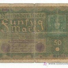 Billetes extranjeros: BILLETE DE 50 MARCOS DE JUNIO DE 1910. Lote 26135979