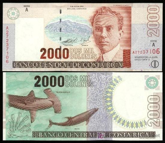 Costa rica nuevo billete de 2000 colones 14 9 comprar - Billetes muy baratos ...