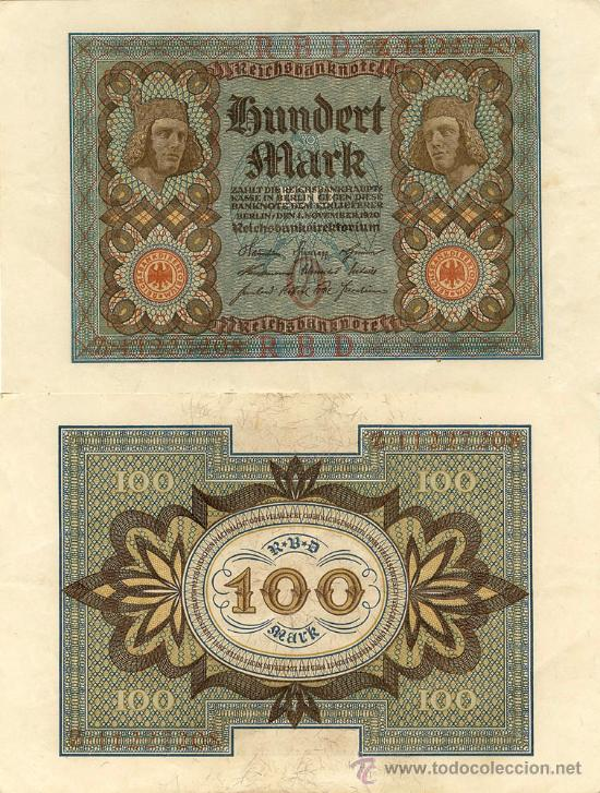 100 MARCOS - REICHSBANKNOTE - BERLIN, 1-NOVIEMBRE-1920 (Numismática - Notafilia - Billetes Extranjeros)