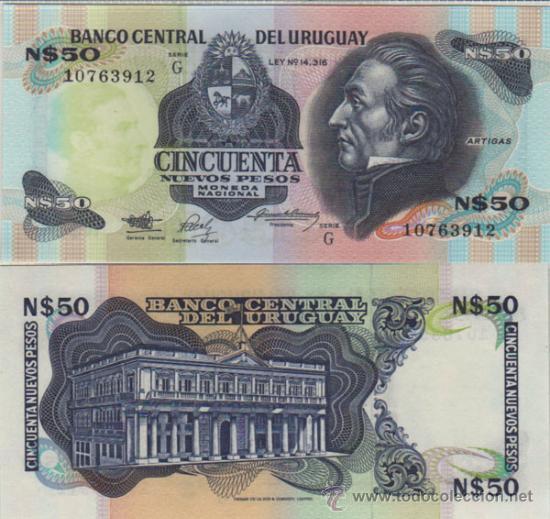 BILLETE URUGUAY - 50 NUEVOS PESOS - 1988/89 - PICK: 61A - PLANCHA (Numismática - Notafilia - Billetes Extranjeros)