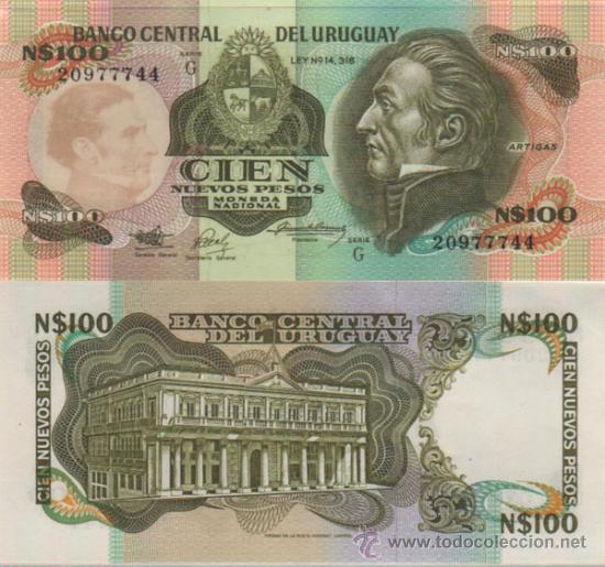 BILLETE URUGUAY - 100 NUEVOS PESOS - 1987 - PICK: 62A - PLANCHA (Numismática - Notafilia - Billetes Extranjeros)