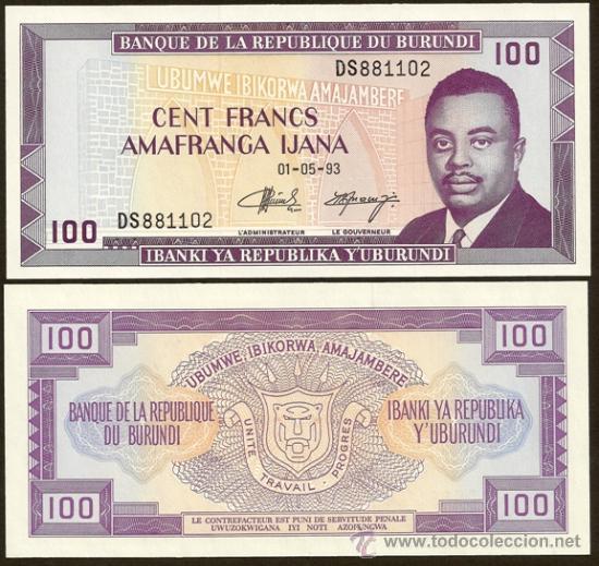 BURUNDI. 100 FRANCS 1.5.1993. PICK 29C. S/C. (Numismática - Notafilia - Billetes Internacionales)