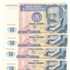 Billetes extranjeros: LOTE DE 5 BILLETES DEL PERU, 10 INTIS. Lote 27255150