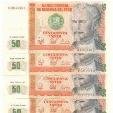 Billetes extranjeros: LOTE DE 5 BILLETES DEL PERU, 50 INTIS. Lote 27255151