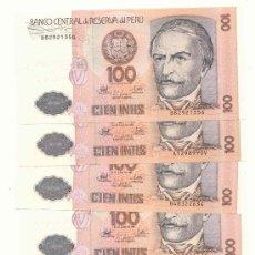 Billetes extranjeros: LOTE DE 5 BILLETES DEL PERU, 100 INTIS. Lote 27255152