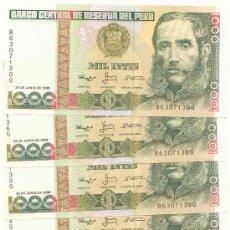 Billetes extranjeros: LOTE DE 5 BILLETES DEL PERU, 1000 INTIS. Lote 26758676