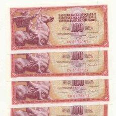 Billetes extranjeros: LOTE DE 5 BILLETES DE LA ANTIGUA YUGOSLAVIA 100 DINARA. Lote 26938888