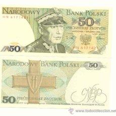 Billetes extranjeros: LOTE DE 5 BILLETES DE POLONIA 50 ZLOTICH 1988. Lote 12381165