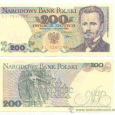 Billetes extranjeros: LOTE DE 5 BILLETES DE POLONIA 200 ZLOTICH 1988. Lote 12381271