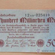Billetes extranjeros: ALEMANIA 1923 BILLETE DE LA INFLACIÓN ANTES DE LA GUERRA.500.000 MILLONES DE MARCOS.. Lote 13879383