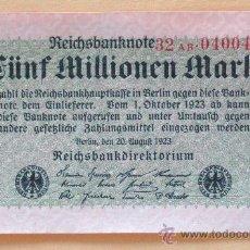 Billetes extranjeros: ALEMANIA 1923 BILLETE DE LA INFLACIÓN ANTES DE LA GUERRA.5 MILLONES DE MARCOS.. Lote 13879610