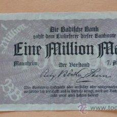 Billetes extranjeros: ALEMANIA 1923 BILLETE DE LA INFLACIÓN ANTES DE LA GUERRA.1 MILION DE MARCOS.. Lote 13879665