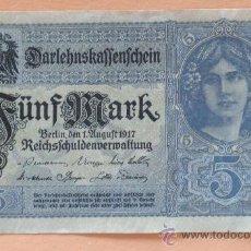 Billetes extranjeros: ALEMANIA 1917 - BILLETE REICHSMARK - ANTES DE LA GUERRA.- 5 MARCOS.. Lote 13879724